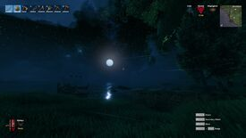 A screenshot of Valheim using a first-person mod, taken on a shore, with grass and trees in the foreground and a beautiful starry sky in the background.