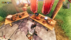 Valheim - New foods for the Hearth & Home update such as cooked boar meat are displayed on two tables beside a viking player.