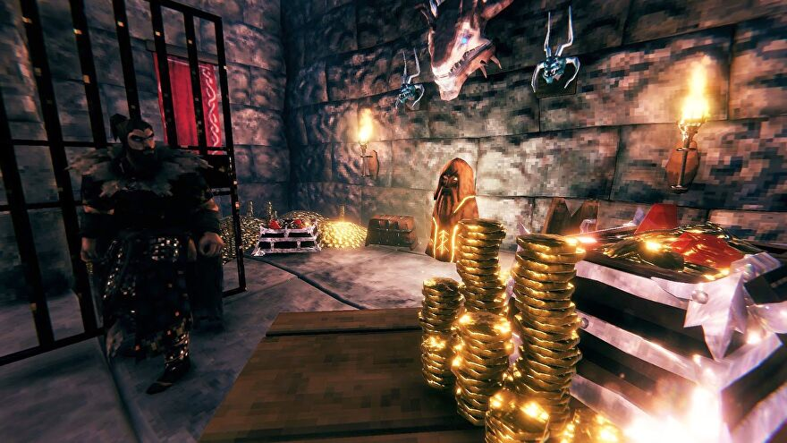 Valheim - A viking player stands in a stone vault decorated with piles and stacks of gold coins.