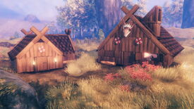 Two houses in Valheim's Hearth & Home update, outfitted with Darkwood roofs and window hatches.