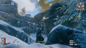 Valheim - The player stands in the snowy mountain biome and aims a drawn bow at a flying Drake