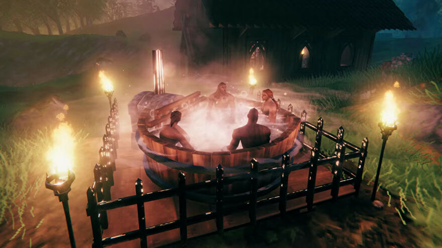 Vikings hanging out in a Valheim hot tub.