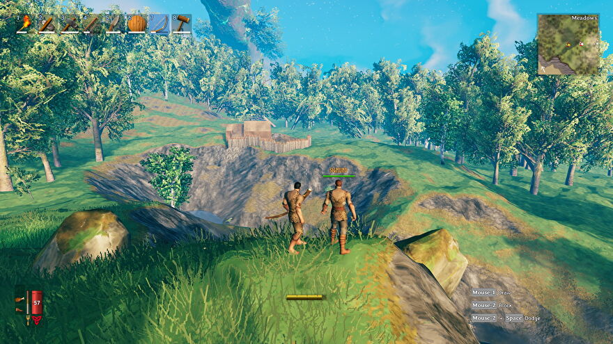 I and my friend Sigmund look out across Valheim's landscape.
