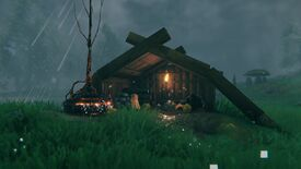 An Obliterator, including lightning rod, next to a semi-abandoned looking shack in Valheim.