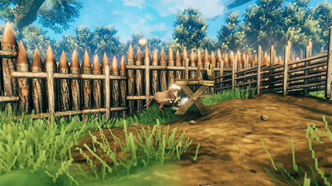 A screenshot from Valheim which shows a boar slamming into a workbench.