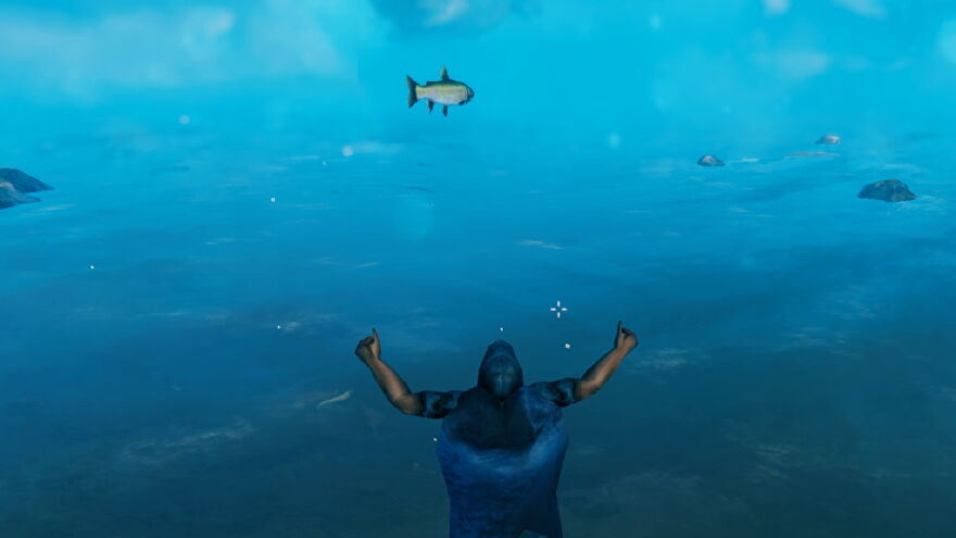 A Valheim screenshot which shows a player screaming at the ocean and a fish rocketing through the air towards them.