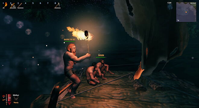 A Valheim screenshot which shows us on the raft at night, Ragnar takes control while Sigmund and I sit down in the cold.