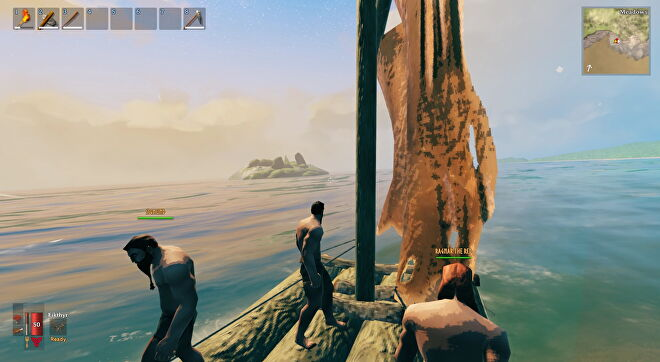 A Valheim screenshot which shows the three of us, still on the raft, approaching a rocky isle in the distance.