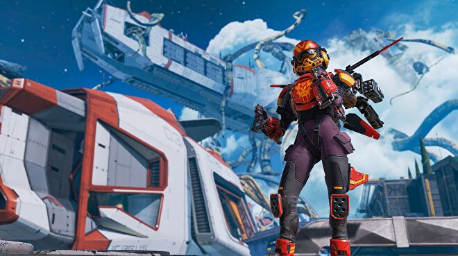 Apex Legends' Valkyrie sporting a nice orange helmet in front of some overrun ships on Olypmus (overrun with parasitc plants).
