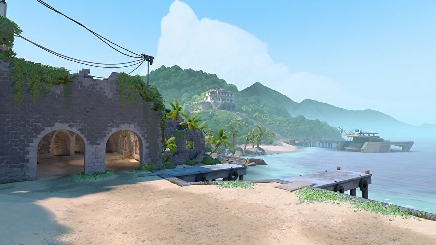 One of the spawn rooms in Valorant's new map Breeze, it's a lovely beach.