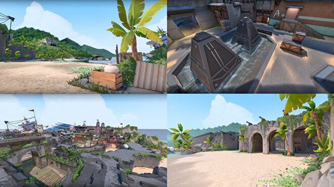 A collection of images from the new Breeze map, they show tropical beaches, fort ruins with cannons, and a spike plant site with really open spaces.
