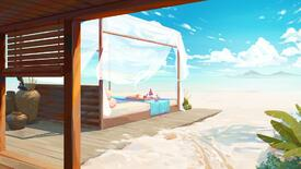 Colourful artwork of Valorant's new beach-side map, Breeze. There's a big comfy-looking sunlounger, I doubt we'll get to use that in the game though.