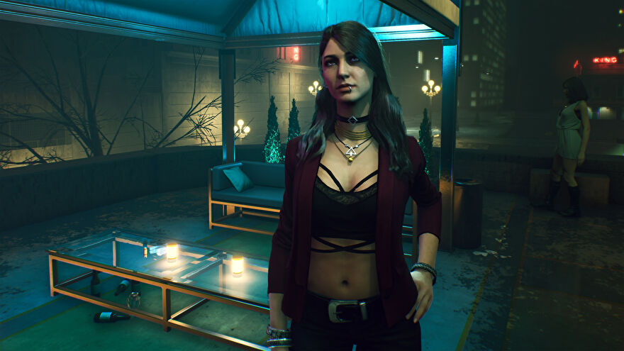 A vampire lady in a Vampire: The Masquerade - Bloodlines 2 screenshot.