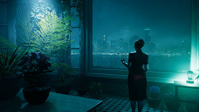 A woman looks out over the city in a Vampire: The Masquerade - Bloodlines 2 screenshot.