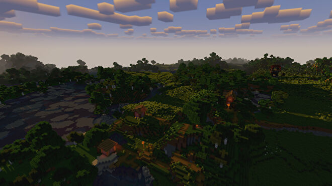 A Minecraft screenshot of a landscape with Vanilla Plus Shaders enabled.