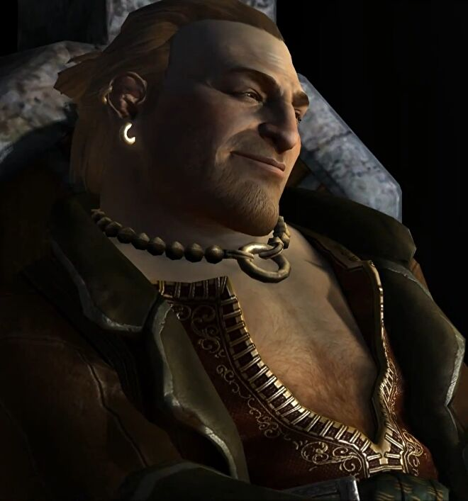 Varric looking smug in Dragon Age 2.