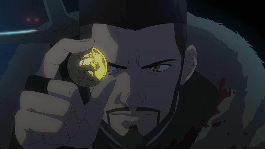 A close-up of young Vesemir holding a coin from The Witcher Netflix show
