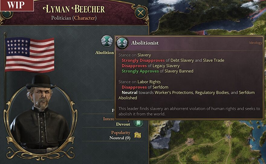 A WIP screenshot of Victoria 3 showing the stats for an abolitionist politician named Lyman Beecher.