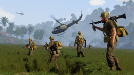 A sicrrenshot of Arma 3's Vietnam DLC. It shows a number of troops crossing a field, supported by two helicopters.