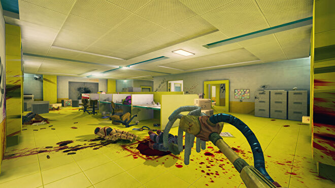 A player holds out a mop in a yellow room full of cartoonish dead bodies in Viscera Cleanup Detail