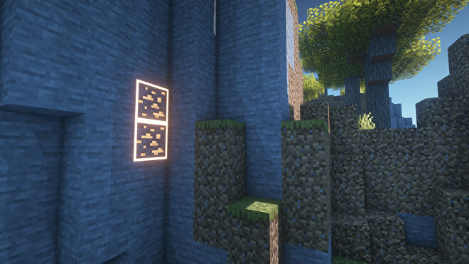 A Minecraft screenshot of a landscape displayed using the Visible Ores Texture Pack.
