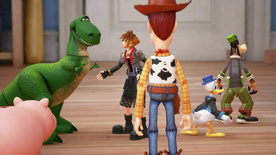 Woody, donald, goofy, rex and the gang stand about in Kingdom Hearts 3.