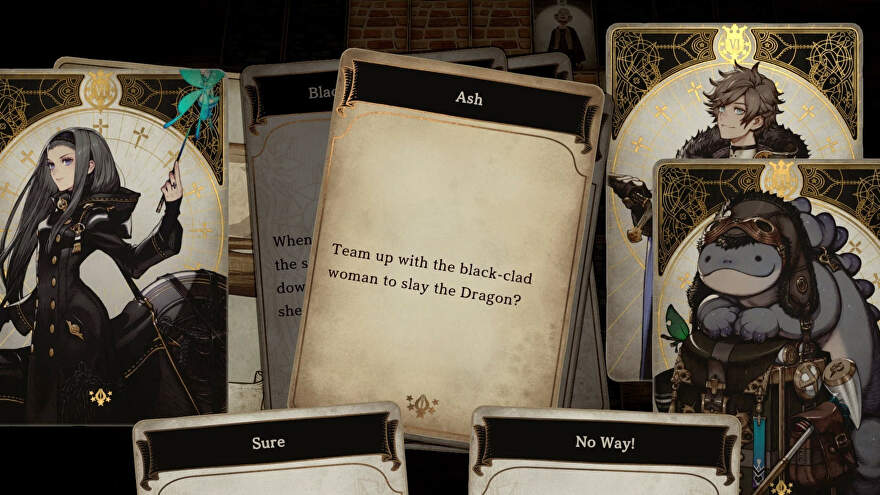 Some pretty cards from Voice Of Cards, left is a pretty witch-looking lady, right is a blobby monster and a knight.