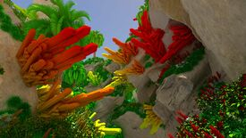 A screenshot of a voxel engine showing red, crystal shapes jutting out of rock.