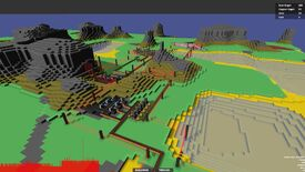 A screenshot of Voxel Factory, a prototype by Introversion Software based on Factorio, depicting a blocky 3D landscape with flat colours upon which streak conveyor belts and laser fences.