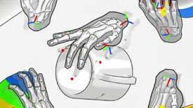 An image showing several skeletal hands, with fingers physically bending around objects. At the centre of the image is a hand touching the rim of a cup.