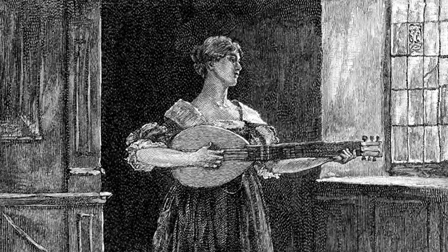 """A woman stands playing the lute in a sparsely furnished room. This picture is an illustration for the poem """"To Music, to Becalm His Fever."""""""