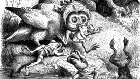 An owl wearing a bonnet attacks frogs wearing shorts in an illustration from 'Woodland Romances; or, Fables and Fancies'.