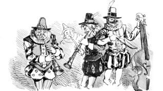 Merry-looking musicians in an illustration from 'The Merry Ballads of the Olden Time, illustrated in pictures & rhyme'.