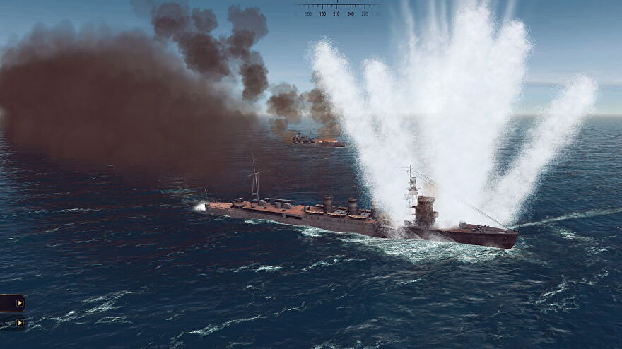 A warship is hit by a torpedo under the waterline, sending up an explosion of spray