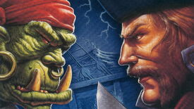 Artwork of an orc and a human staring at each other in Warcraft II: Tides Of Darkness