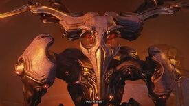"""A screenshot of Warframe showing a terrible giant. The subtitle reads, """"Don't be afraid."""""""
