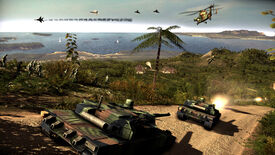 A screenshot of Wargame: Red Dragon showing soldiers and tanks on an island while jets and helicopters whizz overhead.