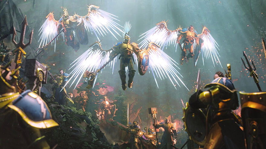 Angelic Stormcast warriors in a Warhammer Age Of Sigmar: Storm Ground trailer.