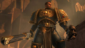 Our spoice marine poses in a Warhammer 40,000: Space Marine screenshot.