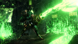 A ratman blasting green beams in a Warhammer: Vermintide 2 screenshot.