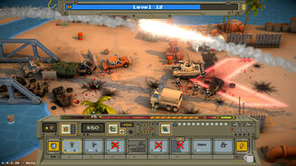 A screenshot of Warpips, showing a scene of pixellated 3D war between troops, tanks, and rocket fire, with menu buttons along the bottom of the screen.