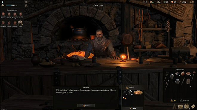 Trading with a merchant in a Wartales screenshot.