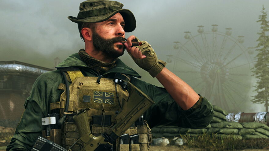 Captain Price puffs on a cigar.
