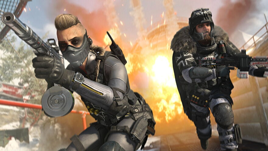 Two operators aim down sights, as they face away from an explosion behind them.