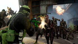 A screenshot from Warzone's Shipwreck location, where a character fires an assault rifle at a wave of zombies that stream towards him.