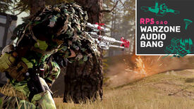 A player in Call Of Duty Warzone wearing camouflage and shooting their sniper rifle at somebody in front of them, with the Warzone Audio Bang podcast logo in the top right