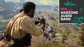 A screenshot of Woods staring out at 1980s Verdansk, binoculars in hand. Two players parachute into Airport in the distance. The Warzone Audio Bang podcast logo is in the top right.