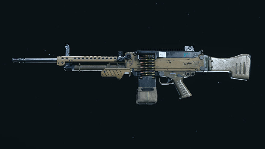 A screenshot of the M91 LMG as it appears in the Call of Duty: Warzone Gunsmith.