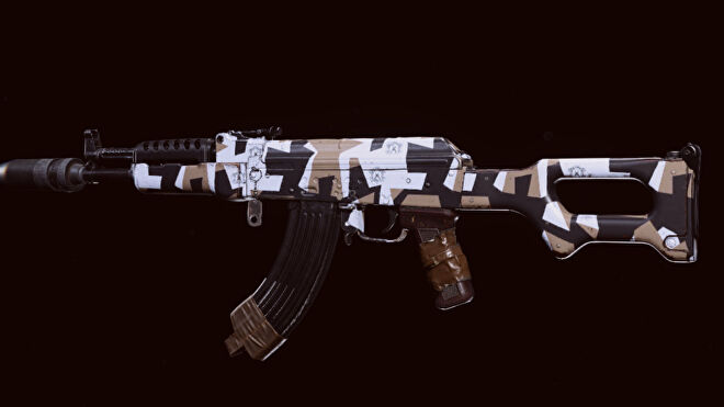 The Cold War AK-47 in Warzone on a blank background.
