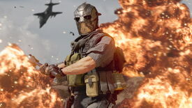 An image from Warzone Season 4's mid-season update which shows a masked operator wielding a mace as an explosion erupts behind them.